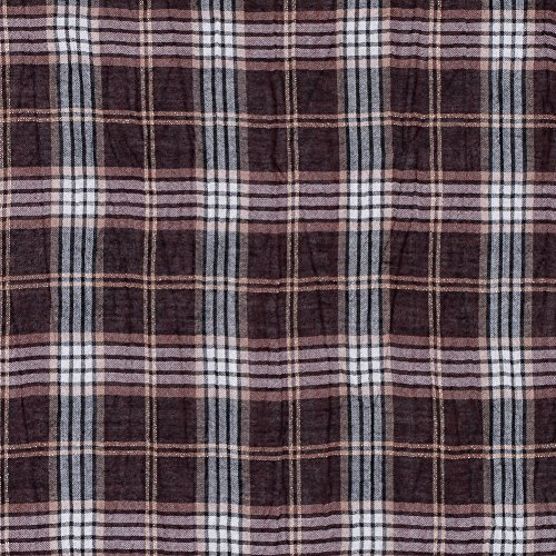 Brown and Metallic Gold Plaid Wool Gauze (Gauze Wool)
