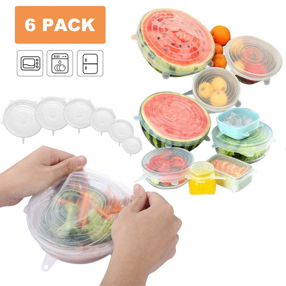 Cavin Silicone Stretch Lids, 6 Pack Reusable Lids, Durable and Expandable to Fit Various Sizes and Shapes of Containers for Keeping Food Fresh, Microwave and Freezer Safe