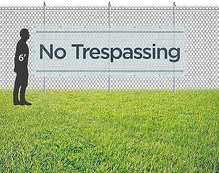 CGSignLab 9x3 Basic Teal Wind-Resistant Outdoor Mesh Vinyl Banner No Trespassing