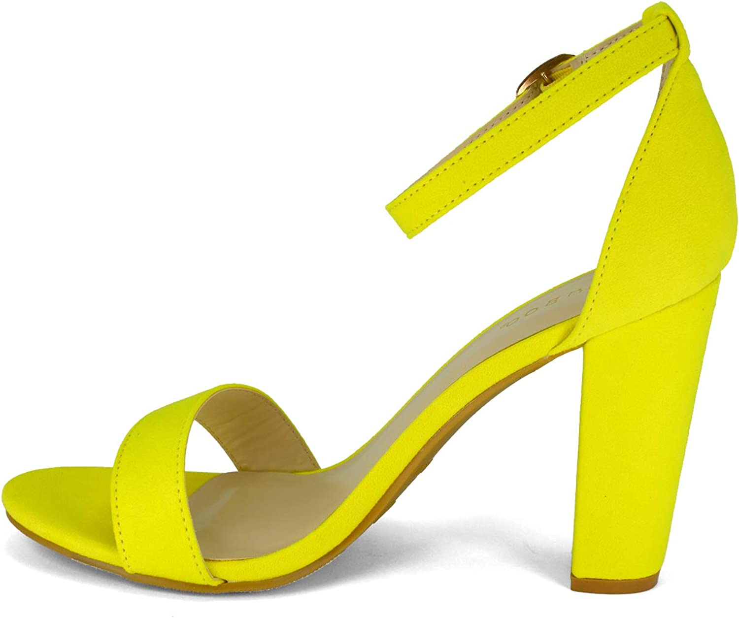 BAMBOO Womens Single Band Chunky Heel Sandal with Ankle Strap Neon Yellow Faux Suede