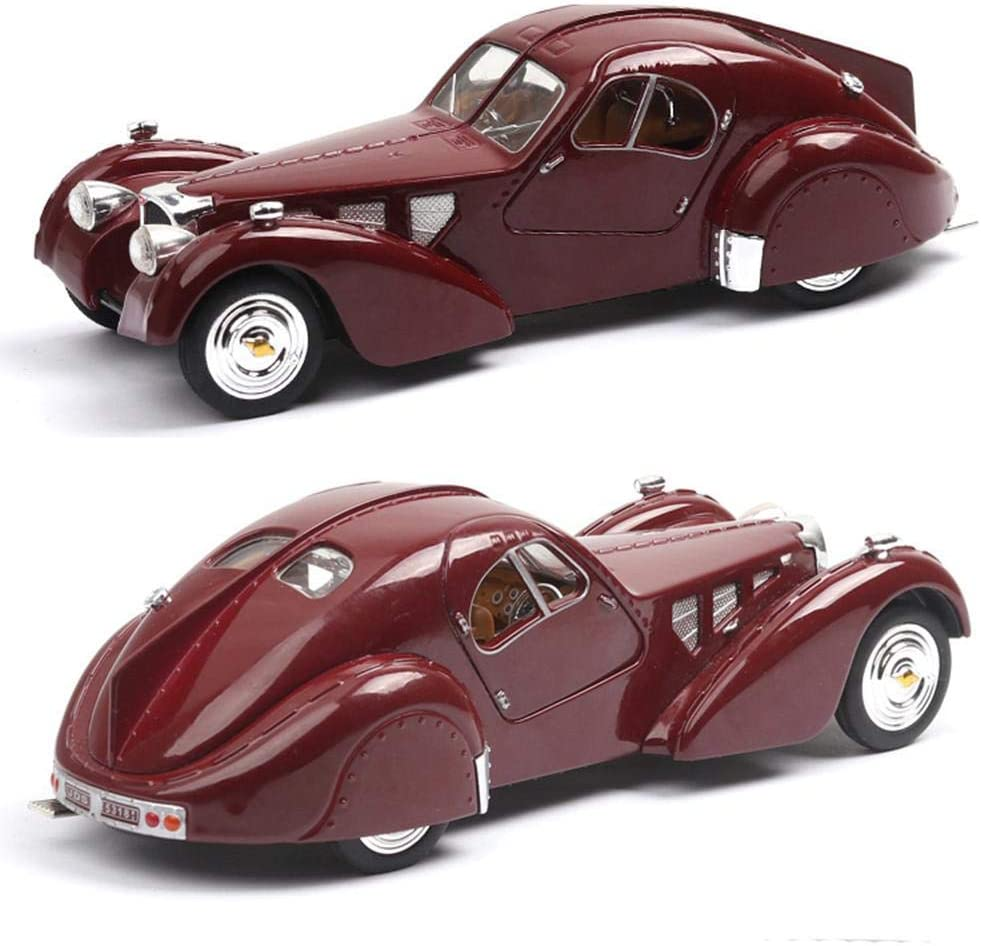 N/D 1:28 Bugatti 57SC 1936 Antique Vintage Car,Alloy Model Handcrafted Collections Classic Car Model Pull Back Vehicle Toys for Bar or Home Decor Decoration Great Birthday Gift of Boys Red