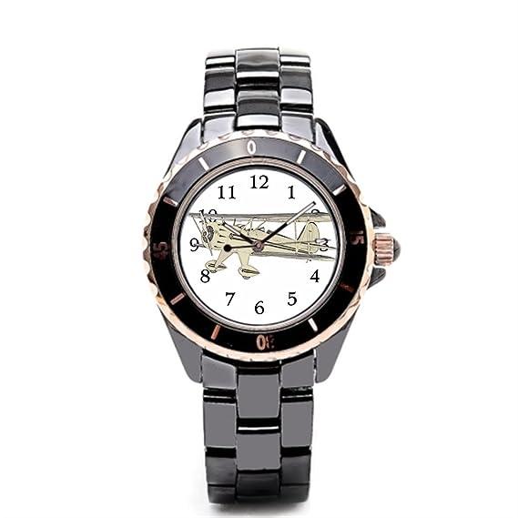 sjfy reloj cerámica segunda guerra mundial avión reloj de pulsera: Amazon.es: Relojes