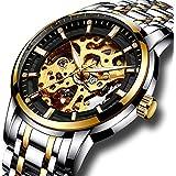 Mens full steel watches LIGE brand Skeleton Automatic mechanical watch men waterproof business dress wristwatch gold black