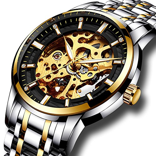 Mens full steel watches LIGE brand Skeleton Automatic mechanical watch men waterproof business dress wristwatch gold black
