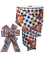 """Fall Wired Ribbon 2 1/2"""" X 30 Feet, Fall Gnome Ribbon, Harvest Pumpkin Wired Edge Ribbon for Wreaths Bows Crafts Thanksgiving Decor"""