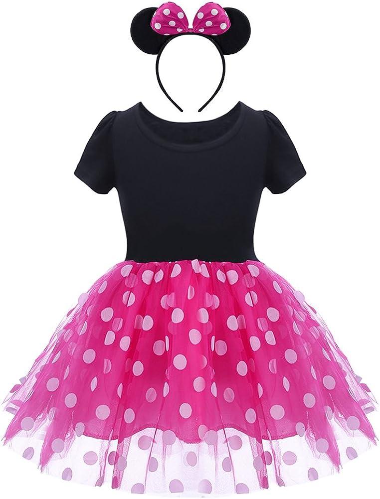 OBEEII Bambine Abitini Polka Dots Ragazze Vestito Principessa per Natale Halloween Carnevale Festa Cerimonia Capodanno 1-6 Anni