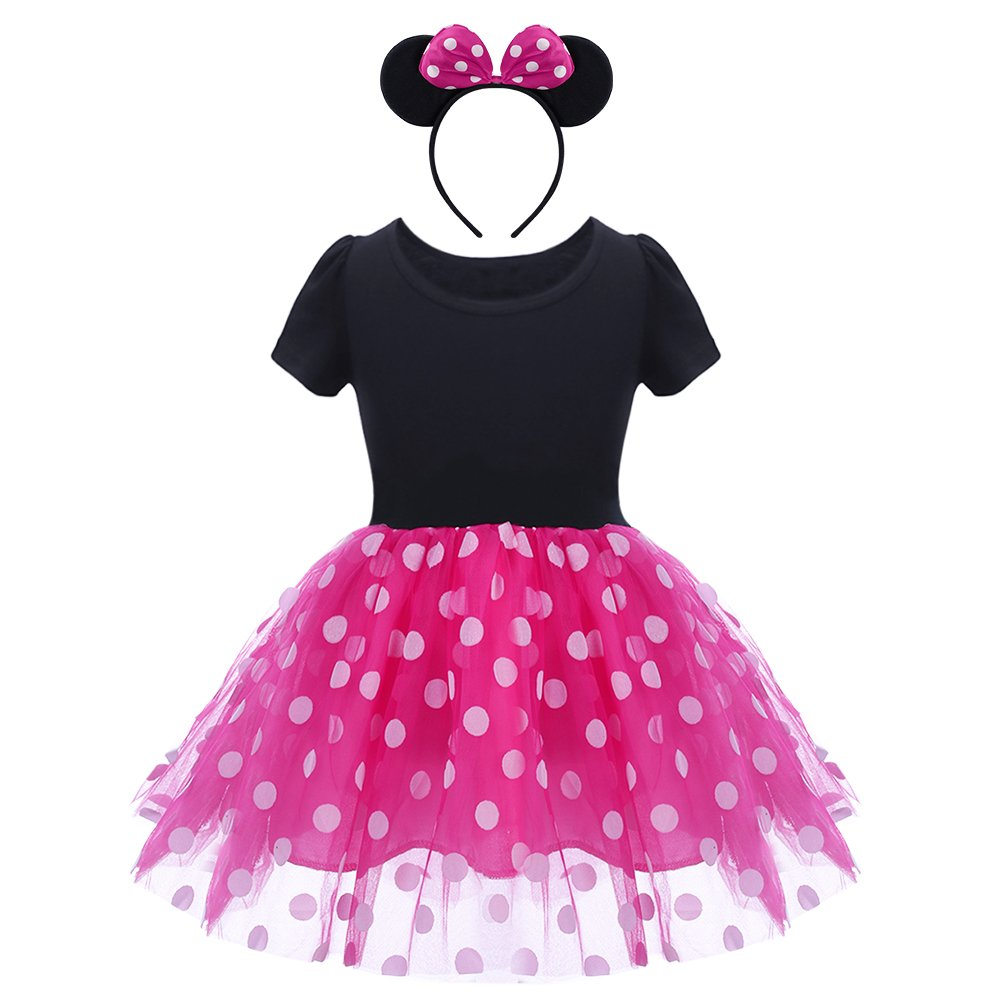 538167a87 Amazon.com: Baby Girls Polka Dots Dress Up Fancy Costume Cosplay Birthday  Toddler Kid Princess Mouse Ear Headband Party Outfit Set: Clothing