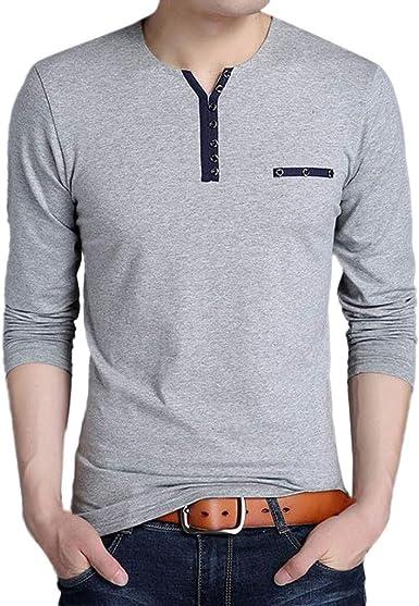 VPASS Camiseta para Hombre, Verano El botón Camisetas Manga Larga ...