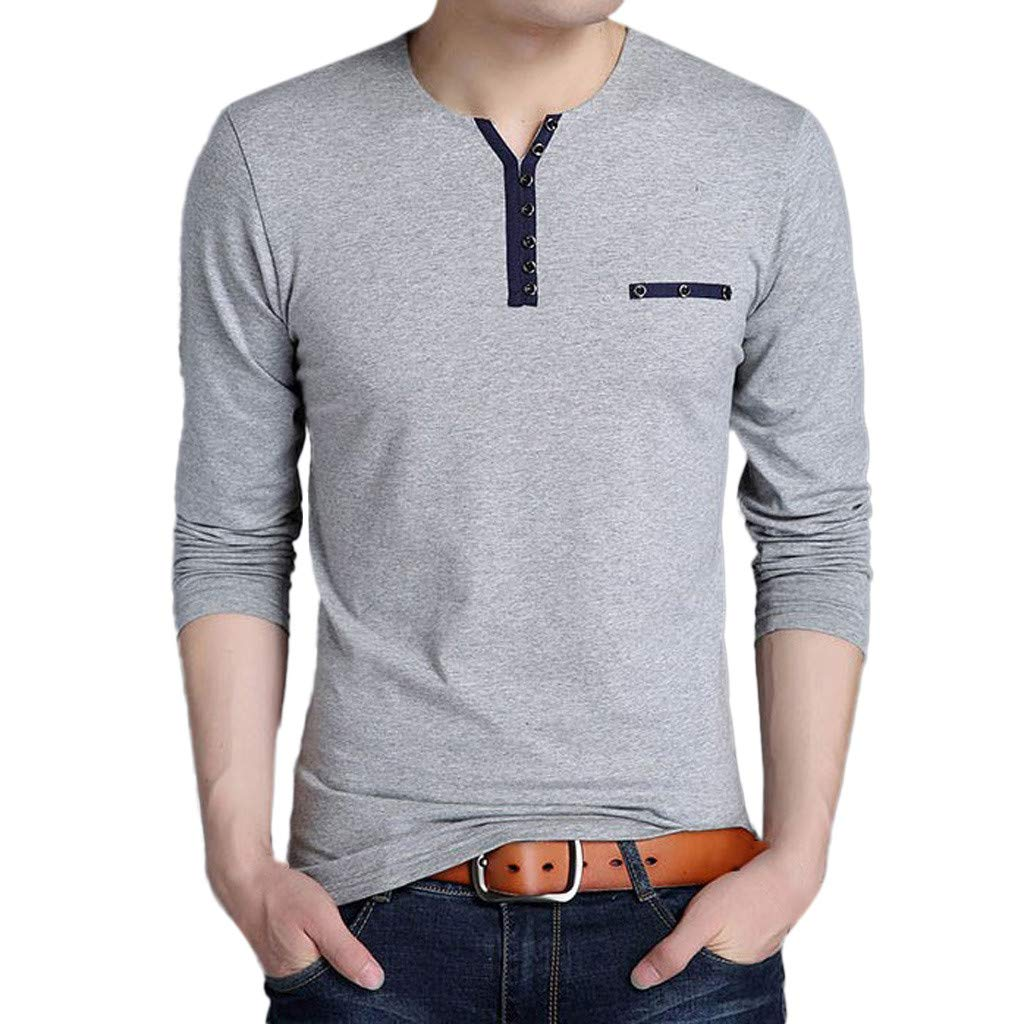 GREFER Men's Tops Fashion Long Sleeved T Shirt Button Cotton Blouse Men Gifts Gray