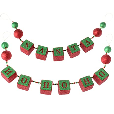 garland raz christmas decorations christmas banner santa and ho ho ho block decor - Raz Christmas Decorations