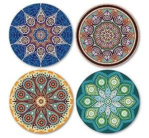 Coastero absorbent stone coasters mandala set of 4 coasters - Stone absorbent coasters ...
