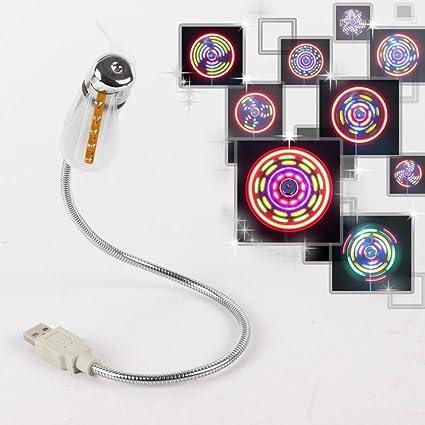 PIXNOR LED Ventilador USB con multicolor LED Luz para PC Portátil Laptop Notebook (Plata)