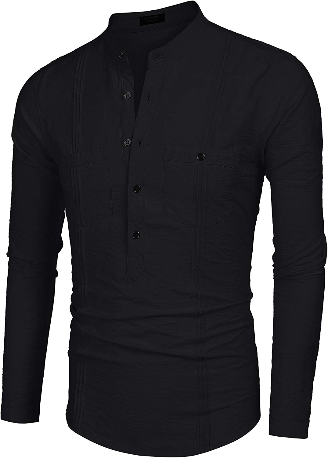 Yugiose Mens Long Sleeve Tunic-Style Stand Collar Shirt with Pockets Casual Button-Down Shirts