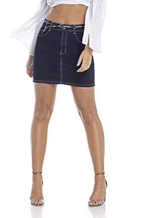 4e3b7435c Saia Jeans Feminina Tubinho com Cinto Denim Zero - DZ7095: Amazon ...