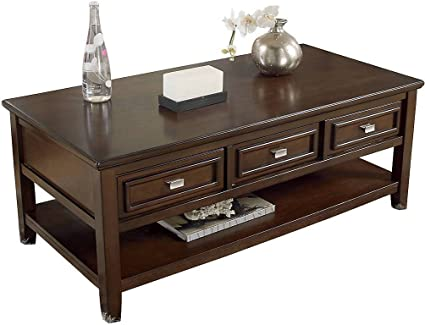 Amazoncom Ashley Larimer Rectangular Coffee Table with Drawers in