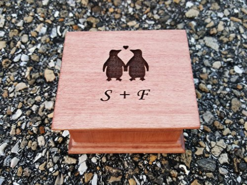 Custom engraved music box with love penguins and your initials or date on the top, great gift for anniversary or christmas for your loved one