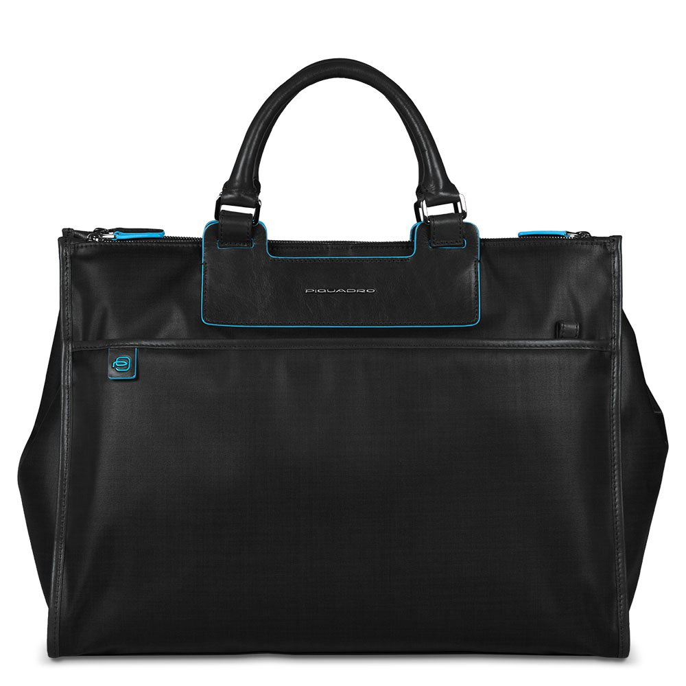 Piquadro Business Tote with Removable Notebook and iPad Mini Organizer Panel, Black, One Size