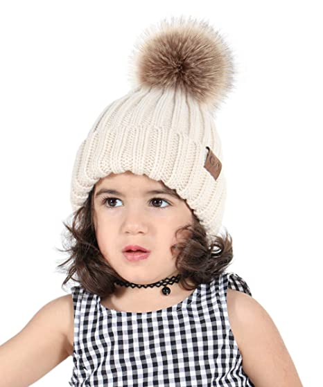 9c1e43dfcf9 G.C Kids Winter Hat Pom Pom Beanie Children s Soft Warm Knitted Hats for  Baby Toddlers Boys