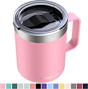 Umite Chef Stainless Steel Insulated Coffee Mug Tumbler with Handle, 12 oz Double Wall Vacuum Tumbler Cup with Lid Insulated Camping Tea Flask for Hot & Cold Drinks(Pink)