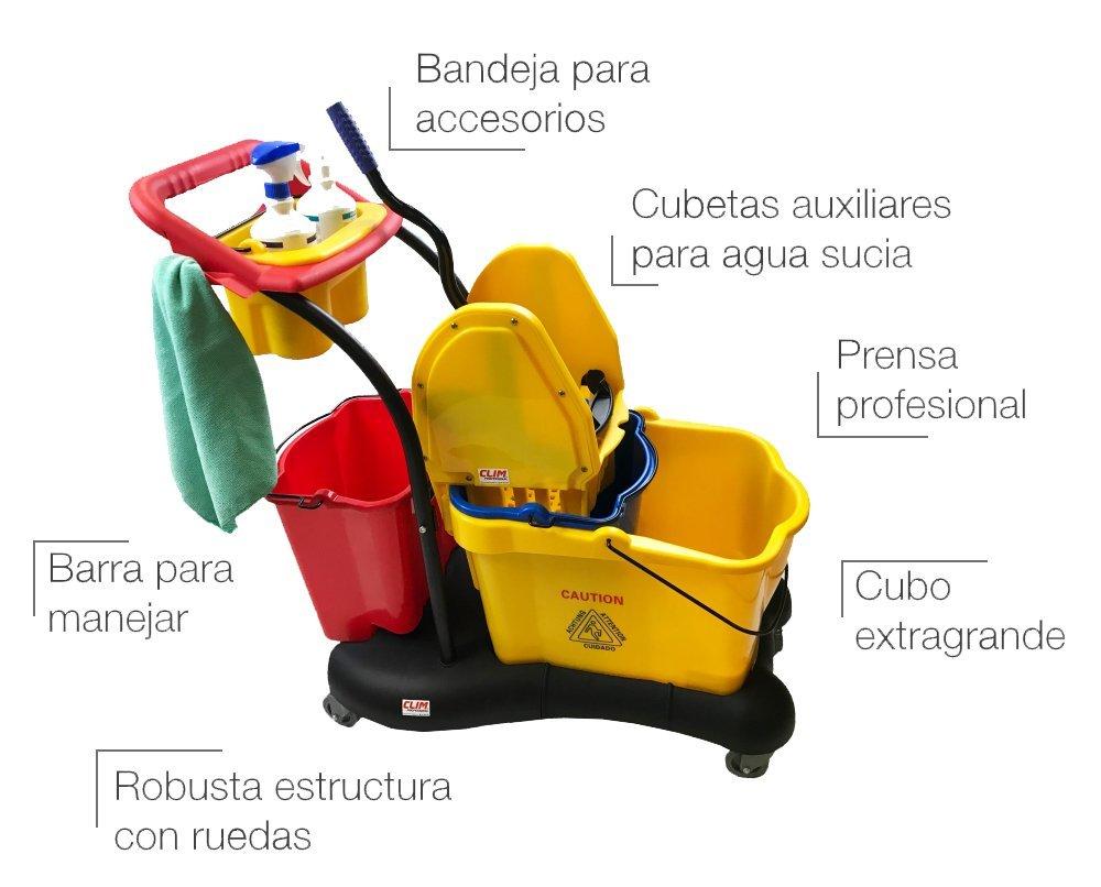 Clim Profesional Carro de fregado Completo Profesional CLIM Compact. Sistema de fregado Profesional con Prensa, Doble cubeta Auxiliar, cestillo para ...