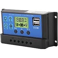 Controlador de Carga de Panel Solar USB Dual PWM 12V/24V y Regulador Inteligente de Batería de Panel Solar, con Pantalla…