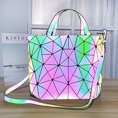 Bag Geometric HotOne Luminous PU Leather purses Large Lattice Shard and Handbags Luminous unique Design wIttx1qfR