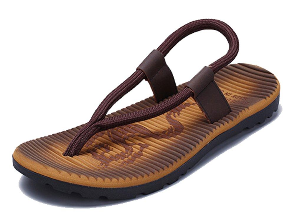 SHOWHOW Men's Daily Sandals - Split Toe Elastic Slip On - Seaside Shoes Khaki 10 D(M) US