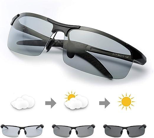 Men Photochromic Polarized Sunglasses 100/% UV Protection Outdoor Driving Glasses