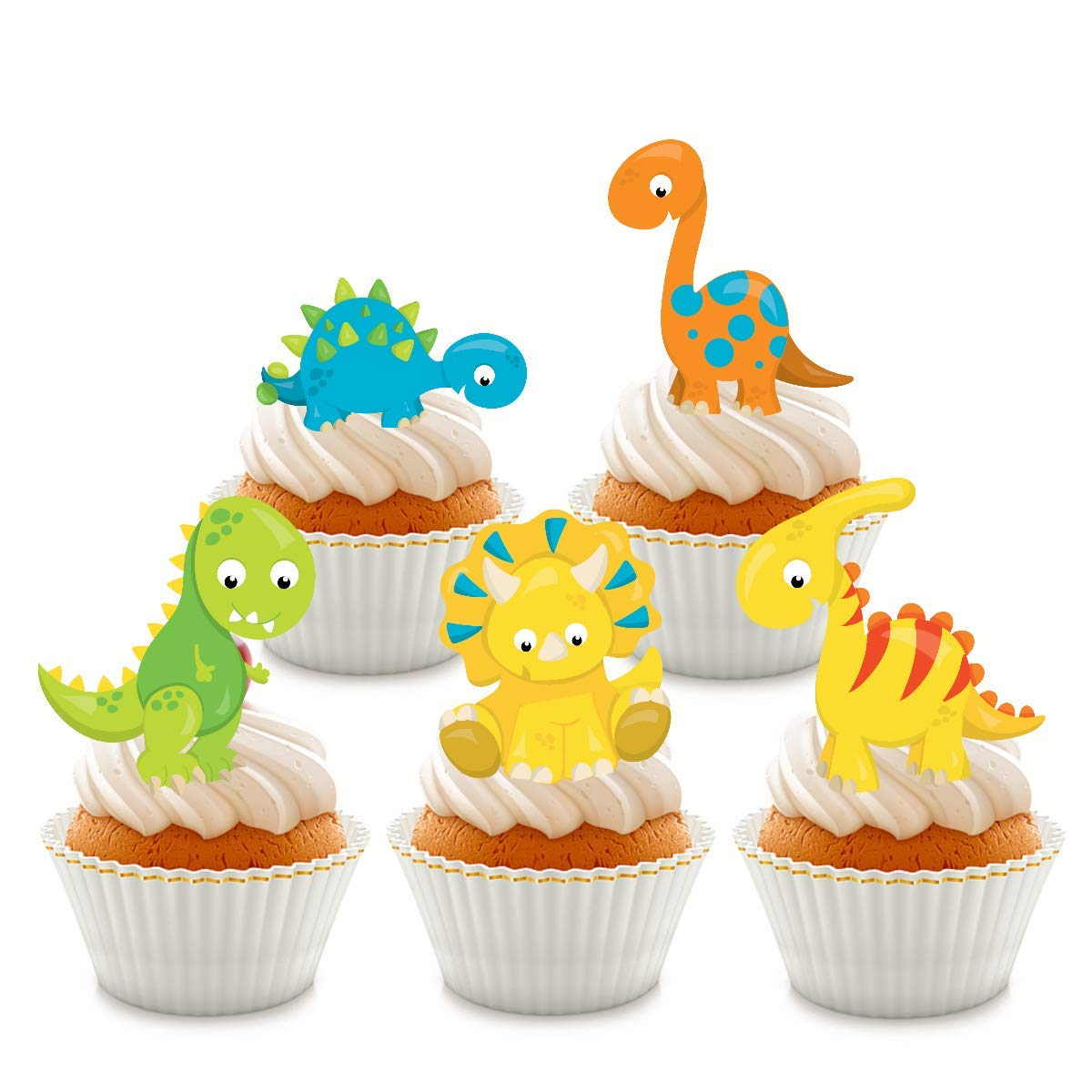 24 x Stand up Cartoon Dinosaurs Cupcake Toppers Edible Wafer Card