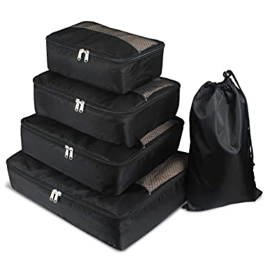 Packing Cubes Bags, Jiemei Luggage Organizers 5 Piece Value Set for Travel & Home Storage (Black)