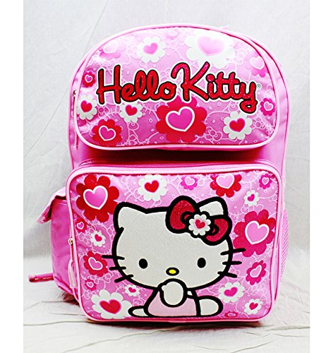 Hello Kitty Backpack Pink Flower Bow Large Girls School Bag New 84017 -