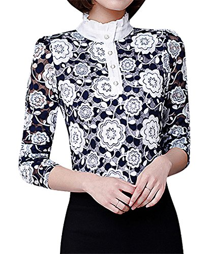 US&R Women's Spandex Polyester Printed Stand Ruffle Collar Full Sleeve Top, 2- ()