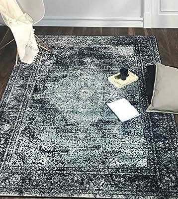 A2z Rug Santorini Navy Medallion Design With Floral Border Kitchen Bedroom Home Office Vintage Traditional Area Rug Soft Short Medium Pile 200 X 290 Cm 6 7 X 9 6 Ft Large Area Carpet