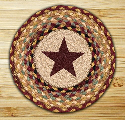 Braided Round Trivets - Earth Rugs 80-357BS Trivet, 10-Inch, Burgundy Star