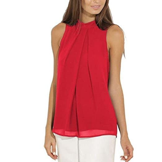 Kangma Women Summer Casual Chiffon Sleeveless Shirt Blouse Tank Tops Red at  Amazon Women s Clothing store