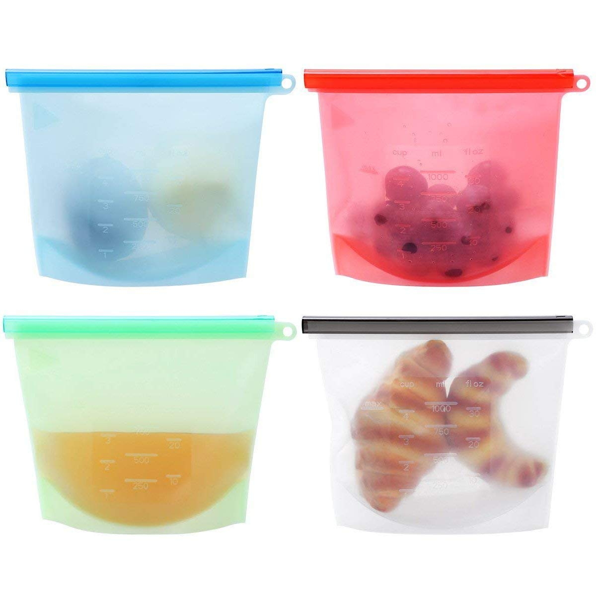 Silicone Food Storage Bags, 4-Pack Reusable Snack Bags | Sandwich, Sous Vide, Liquid, Lunch, Fruit, Freezer Airtight Seal for Simply Cooking and Storage by FourPlusOne
