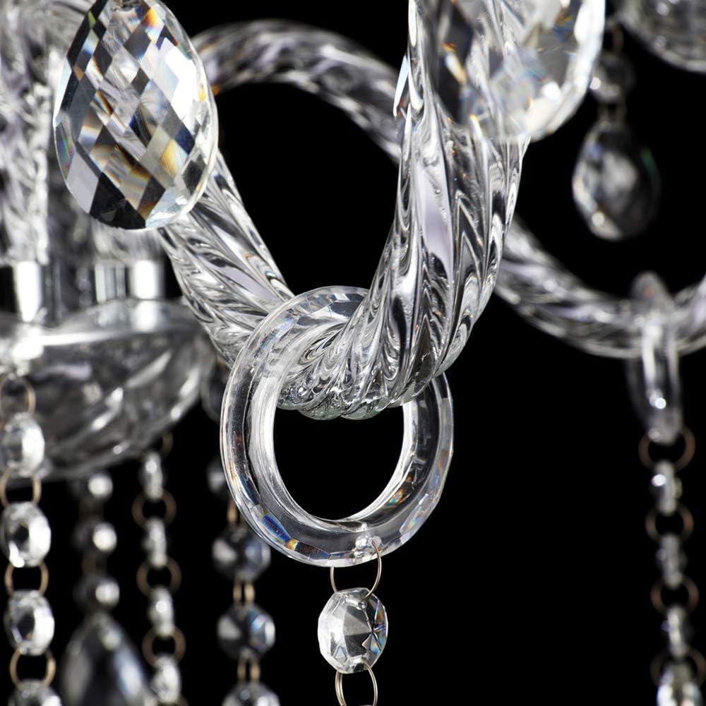Froadp L/üster Kronleuchter /Ø58x60cm Kristall Vintage Pendellampe H/ängeleuchte mit K9 Kristallperlen und E14 Sockel Bunt, 6 Flammig mit Lampenschirm