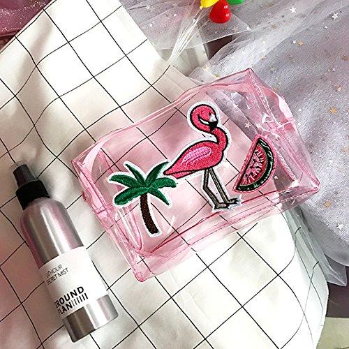 LULANSüße kleine Mädchen frisch Flamingo transparente Kosmetiktasche wasserdicht Waschen die Zulassung Paket Paket, 15 * 12 * 6 cm, Kosmetiktasche Wassermelone Rosa