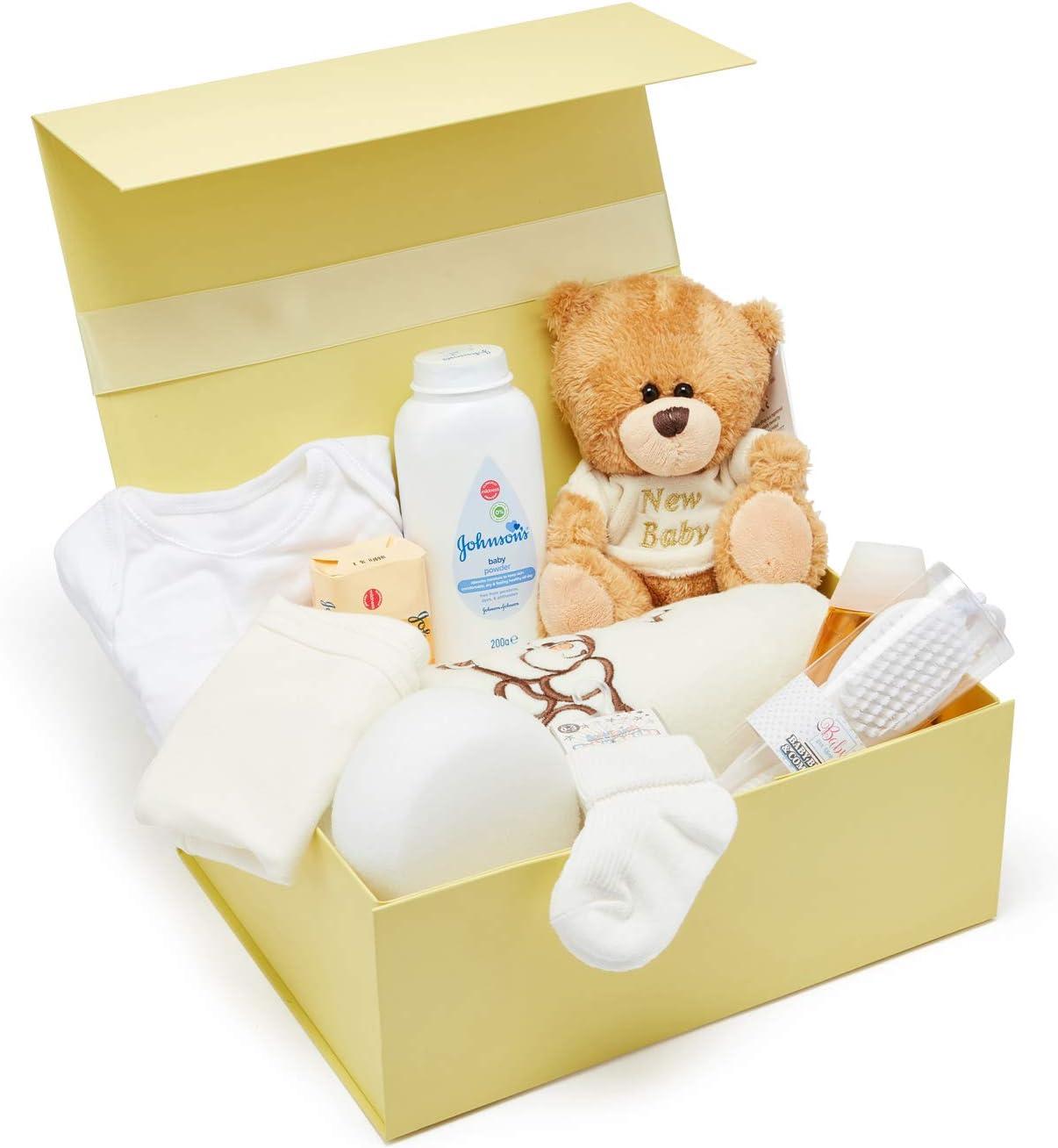 Cesta regalo beb/é ni/ño para baby shower con todo lo esencial para bebes reci/én nacidos con osito de peluche y caja de recuerdos azul Baby Box Shop
