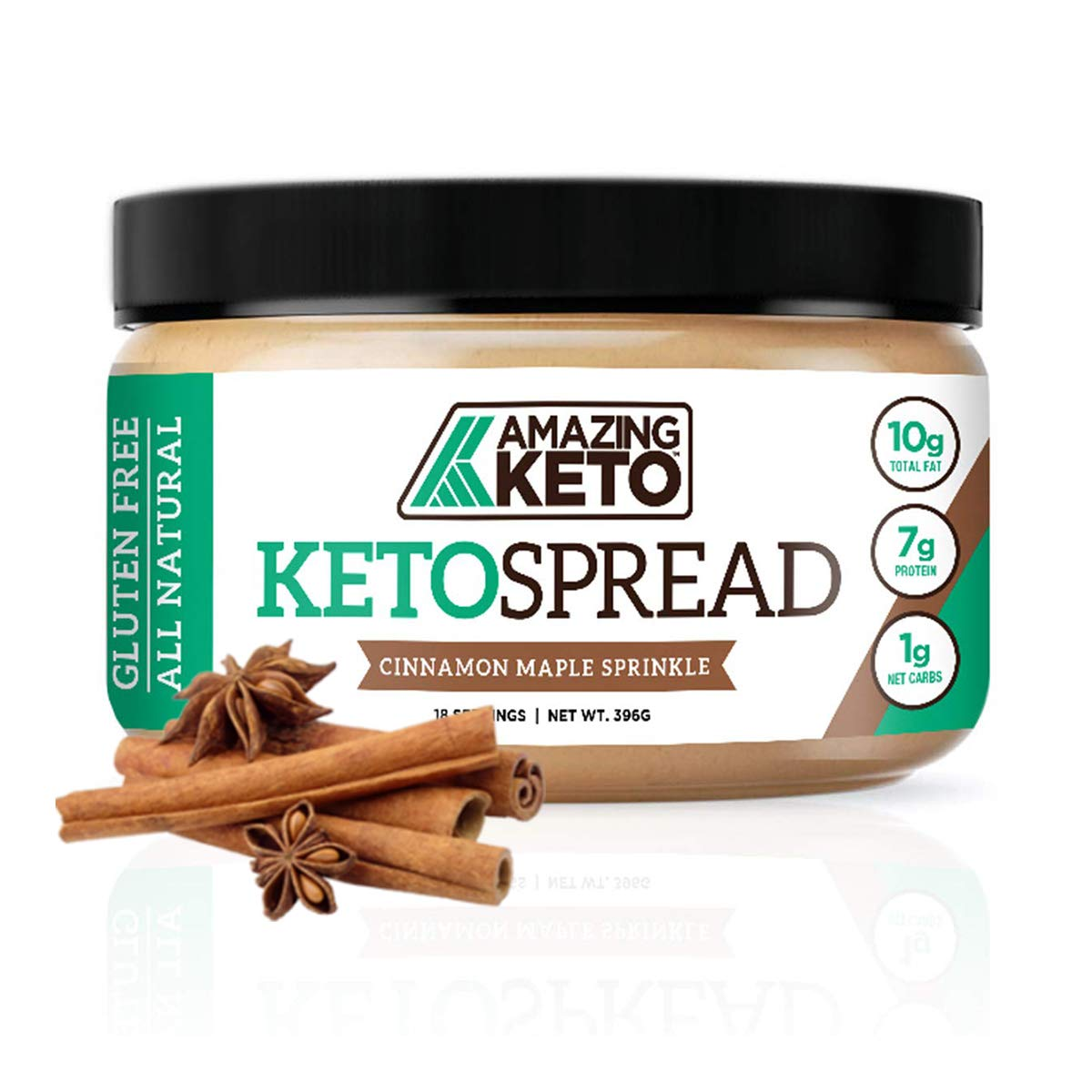 Amazing Keto Nut Butter Spread | Low Carb Keto Nut Butter Spread | Fat Bomb, Gluten Free & All Natural for Ketogenic Diet | 10G Fat, 7G Protein & 1G Net Carb | 18 Servings (Cinnamon Maple Sprinkle)