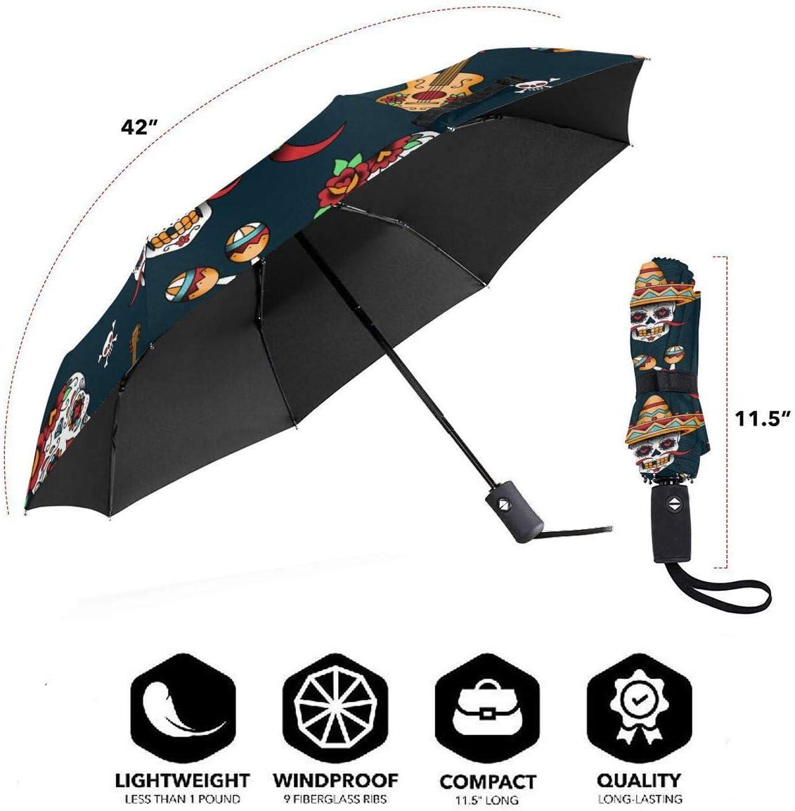 Mexican Sugar Skulls Chili Automatic Tri-fold Umbrella Stylish Windproof Anti UV Rain//Sun Travel Umbrella Light Weight.