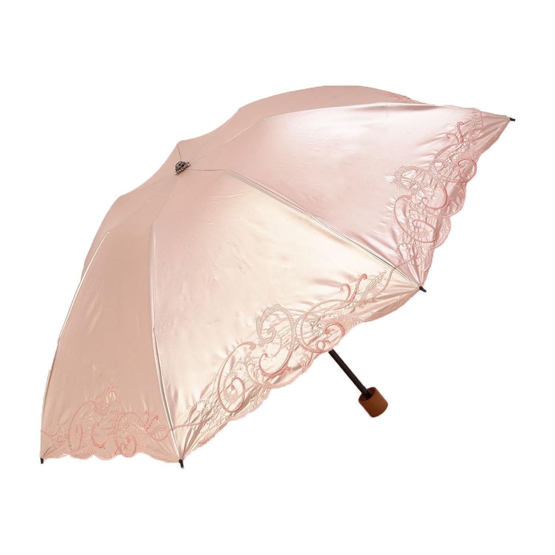日傘 折りたたみ 遮光 遮熱 UVカット 3段折りたたみ日傘 晴雨兼用傘 軽量 刺繍 スワロフスキー B007U4G4UOピンクベージュ