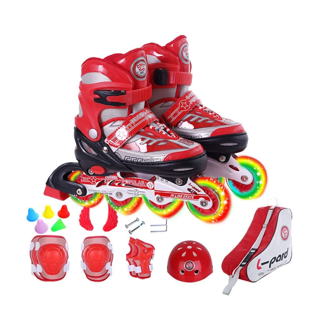 YANG 初心者のための子供のローラースケート調節可能な照光ホイールローラーブレード、子供、男の子用、赤+防護服+ヘルメット+バッグ (Size : EU 38 - EU 41) EU 38 - EU 41  B07TH2RY3N