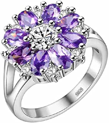 Anniversary ring Size 6 to 10 Gift for sister Elegant bohemian style silver rings for women Enamel flower ring Cubic zirconia ring
