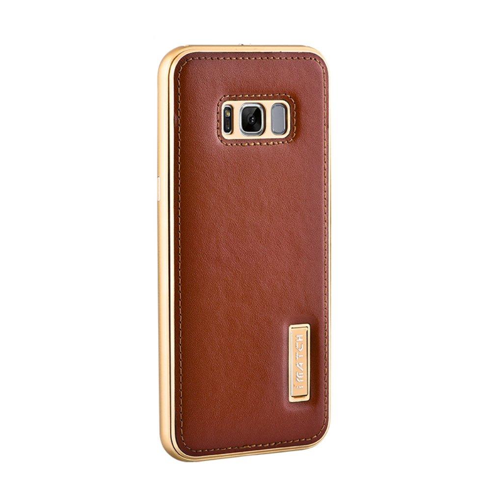 Galaxy S8 Plus Echt Leder Hülle, Aluminium Rahmen: Amazon.de: Elektronik