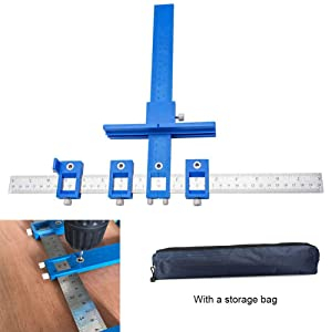 Cabinet Hardware Jig Adjustable Punch Locator Tool Drill Guide Template Wood Drilling Dowelling for Installation of Handles, Knobs on Doors and Drawer Pull with Storage Bag