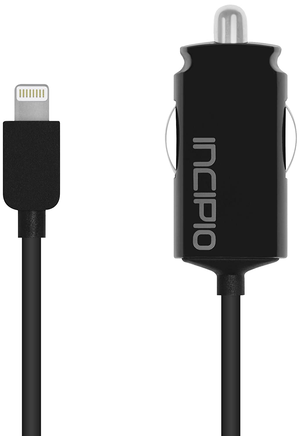 Retail Packaging Black Incipio IP-693 Ultra Compact Auto Charger 2.1A with Captive Cable for iPhone 5