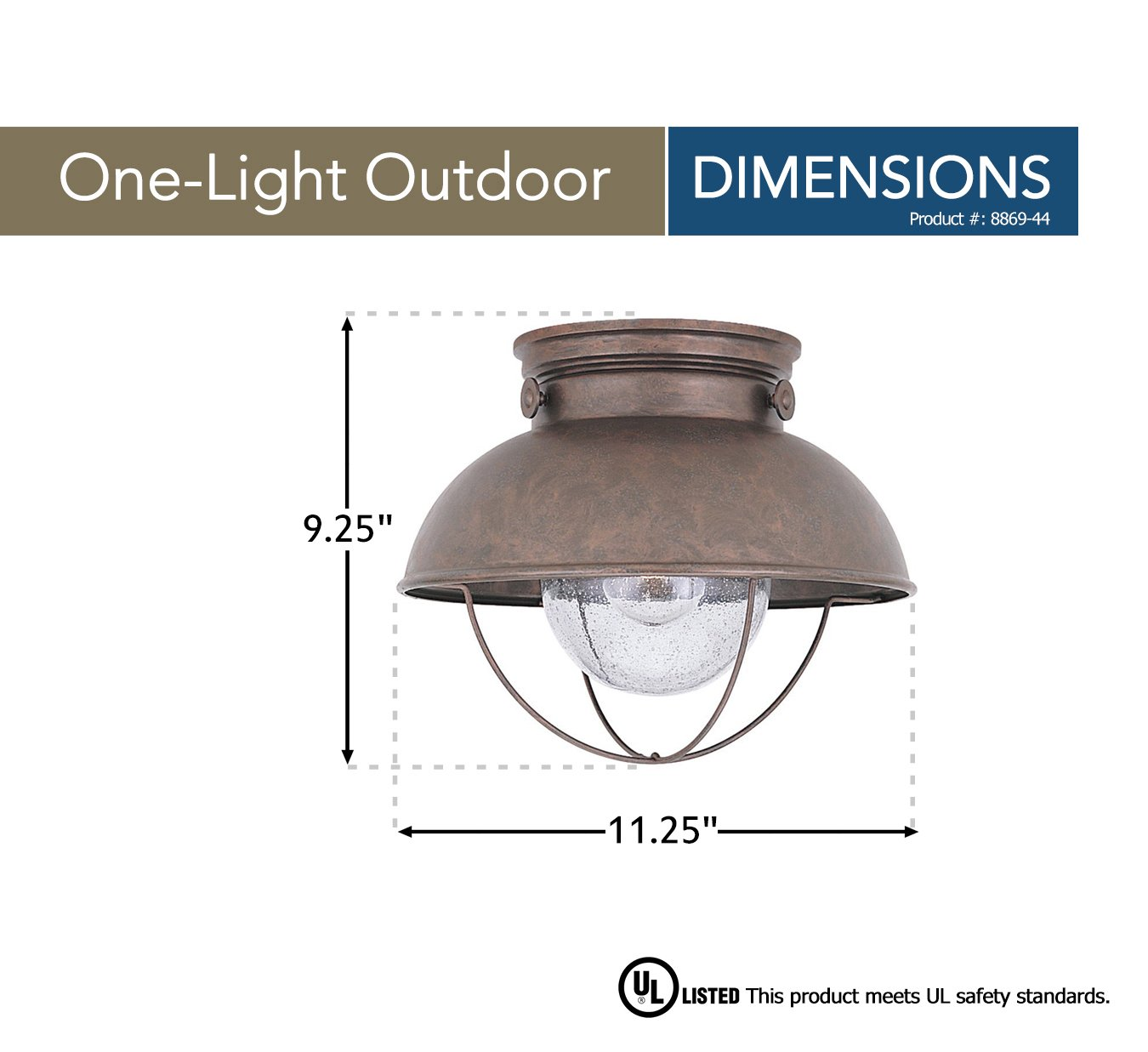 Sea Gull Lighting 8869 44 Sebring One Light Outdoor Flush Mount 2004 Wiring Diagram Dome Ceiling With Clear Seeded Glass Diffuser Weathered Copper Finish Post