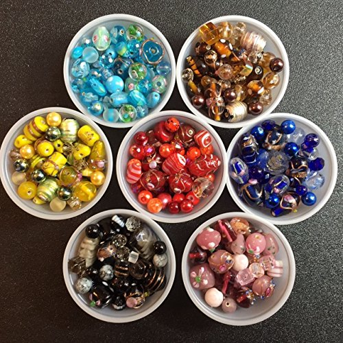 12 Pounds of Lamp Work & Gemstone Jewelry Making Bead Kit Variety of Colors Crystals, Glass, Wedding Cakes, Crackle, Size 8-30mm, Findings, Ear Hooks, Spacers,Tiger Wire in USA