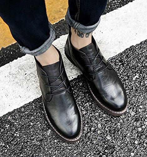 Anguang Tempo Uomo Multi Nero Scarpe 1 stile Medio Pelle libero Piatto Allacciare Scarpe rFrxnBYH
